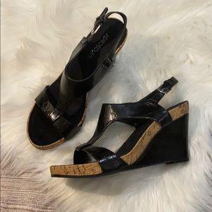 Aerosoles black wedge sandals size 9.5 NEW